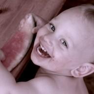baby eating happy